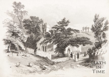 Charlcombe Church and ancient Yew near Bath,