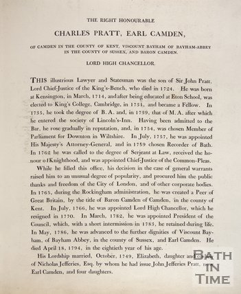 Article concerning Charles Pratt, Earl Camden