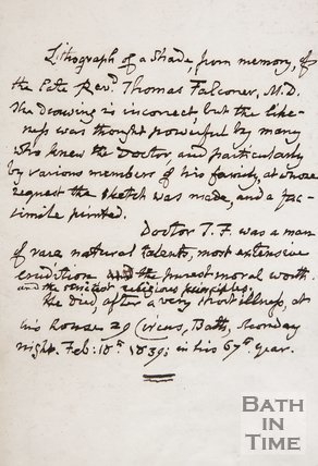 Handwritten note concerning Rev. Thomas Falconer M.D, date unknown