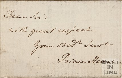 A handwritten letter from Prince Hoare, date unknown