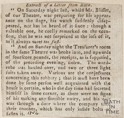 Newspaper article concerning a robbery from Mr. Blisset of the Theatre at Bath, 1734