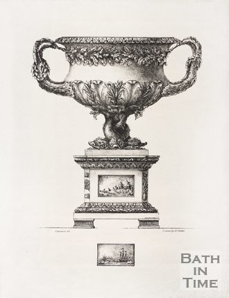 Engraving of solid silver Parry vase, 1825