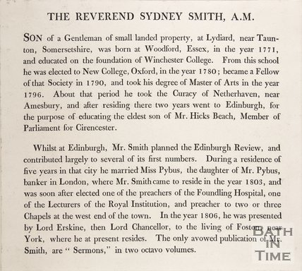 An article concerning the Reverend Sydney Smith A.M