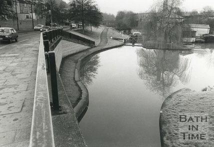 The new Canal bridge and basin at Rossiter Road, Bath, c.1993
