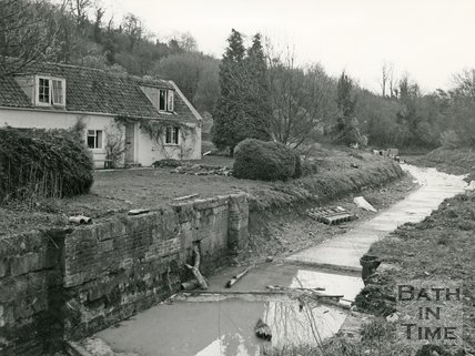 The derelict Kennet & Avon canal, Winsley, near Bath 14 February 1977