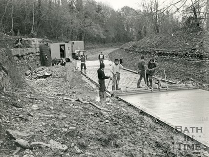 Restoring the derelict Kennet & Avon canal, Winsley, near Bath 14 February 1977
