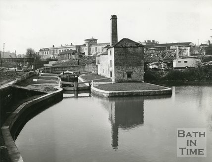 Thimble Mill, locks and basin, Kennet & Avon Canal, Widcombe, Bath, April 1972