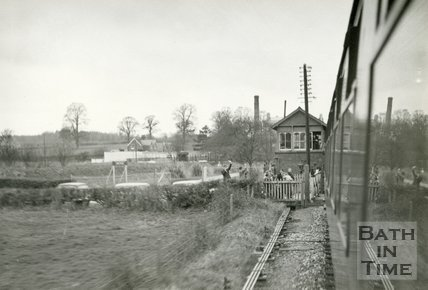 Somerset & Dorset 48706 Great Western Society Special passing the signal box at Corfe Mullen, March 5th 1966