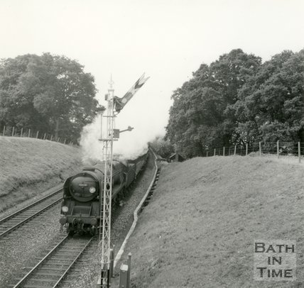 Somerset & Dorset Engine No. 35020 passing between Midford and Wellow, below Twinhoe, 1960s