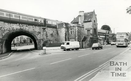 The disused Twerton station, Lower Bristol Road, Bath, 1987