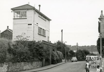 The signal box at the Bath Goods Yard, Thornbank Place, 15 August 1970