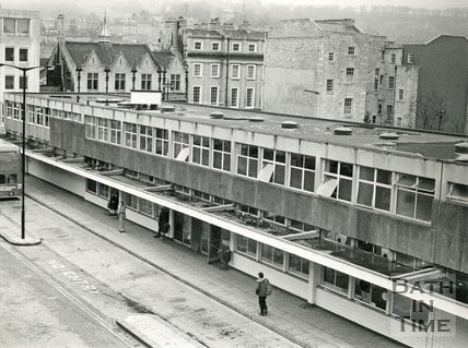 The old bus station, Bath, 9 February 1977