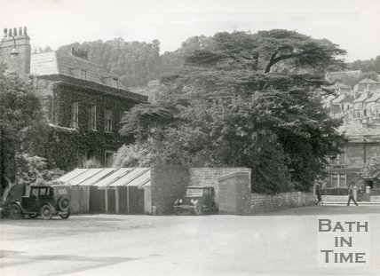 The old Kensington Bus Depot and York House, London Road, Bath, c.1946