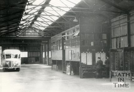 Inside the old Kensington Bus Depot, London Road, Bath, c.1946