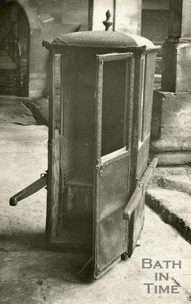 An original sedan chair at the Roman Baths, Bath, c.1920s
