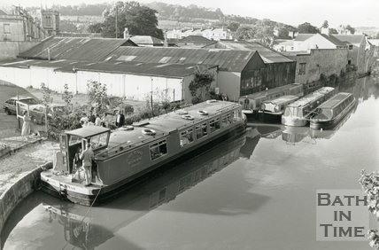 Canal narrow boats at Sydney Wharf, Bathwick, Bath, September 1988
