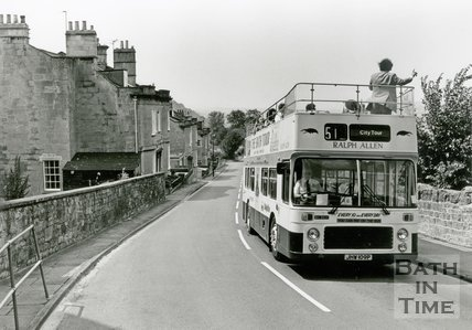 A Bath tour bus coming up Widcombe Hill, August 1990