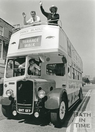 Vintage Bus in Bath at Terrace Walk, May 1991