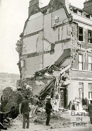 Bomb damage at the Paragon, Bath, April 1942