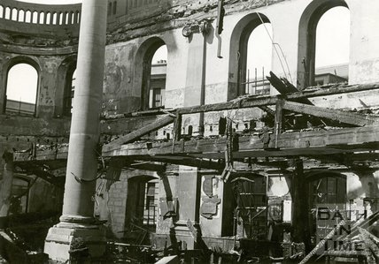 The bombed interior of St James's Church, Bath, April 1942