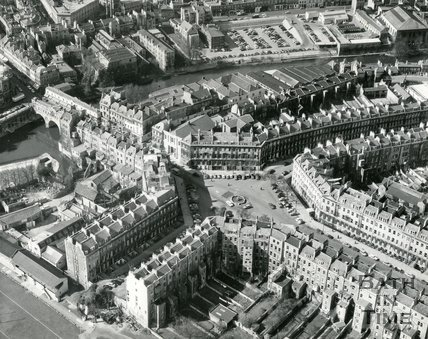 1960, Aerial view of Laura Place, Bath