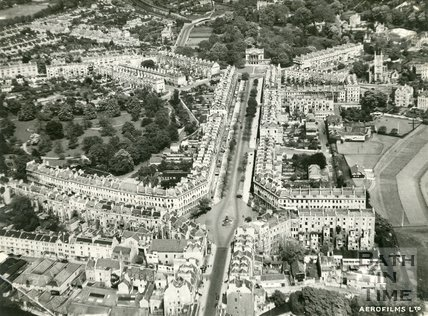 1946, Aerial view of Great Pulteney Street, Bath, 9 May