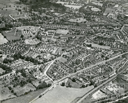 1965 Aerial view of Newbridge Rock, Locksbrook and Weston, Bath, 7 August