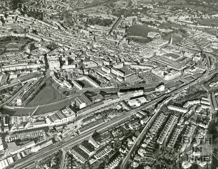 c.1982 Aerial view of the Newark Works and city centre of Bath