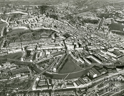 c.1982 Aerial view of Green Park, Newark Works and City of Bath