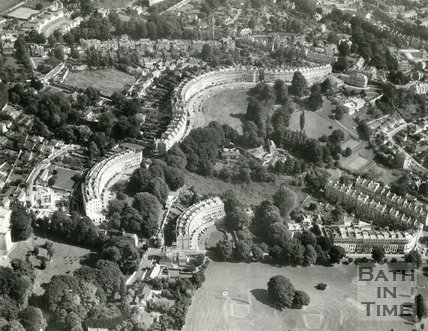 1971 Aerial view of Cavendish Crescent, Somerset Place and Lansdown Crescent, Bath