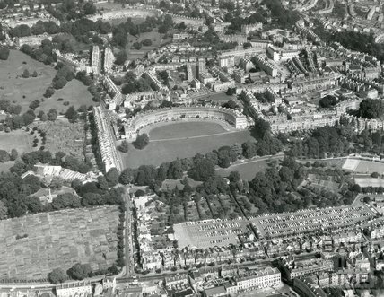 1971 Aerial view of the Royal Crescent and Charlotte Street car park, Bath