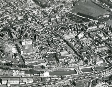 1971 Aerial view of the River Avon, Newark works and Southgate area of Bath