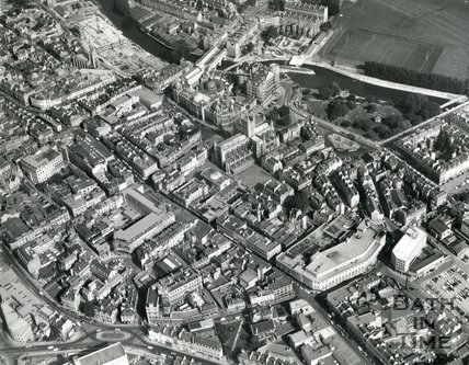 1971 Aerial view of James Street West, Bath Street, Bath Abbey