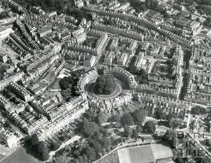 1971 Aerial view of the Circus, Bath