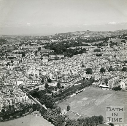 1949 Aerial view of Bath looking over the Recreation Ground, 19 June