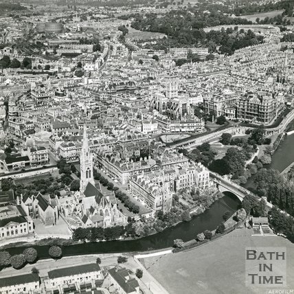 1946 Aerial view of Bath looking over the cricket ground towards Bath Abbey, 19 June