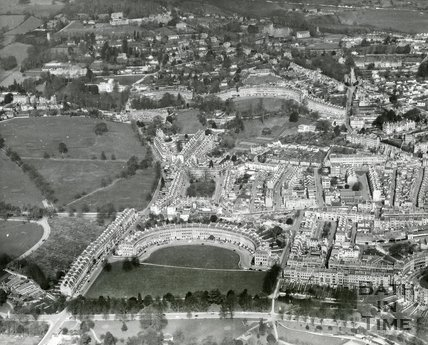 1963 Aerial view of the Royal Crescent and Lansdown areas of Bath, 25 September