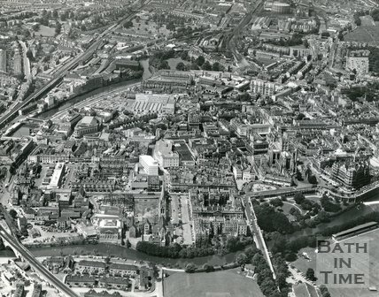 1964 Aerial view of Bath from the direction of the cricket ground