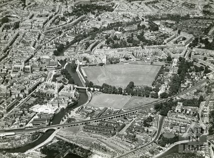 1935 Aerial view of Bath looking over the Dolemeads towards Pulteney Bridge, July