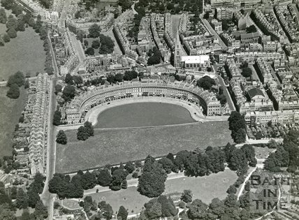 1935 Aerial view of the Royal Crescent, St Andrews church and St James Square, Bath, July