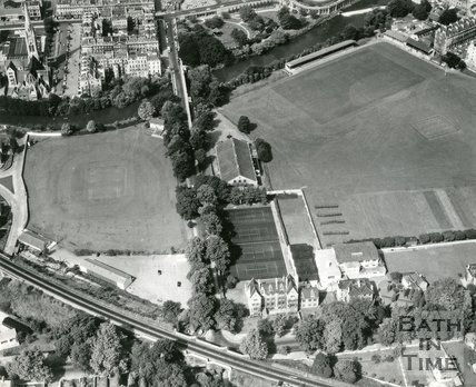 1966 Aerial view of the convent, Pavilion, cricket and recreation ground, Bath, January