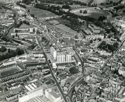 1966 Aerial view of Kingsmead, Bath, January