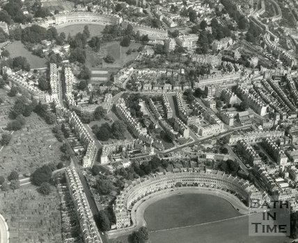 c.1965 Aerial view of the Royal Crescent, St James Square and Lansdown Crescent, Bath
