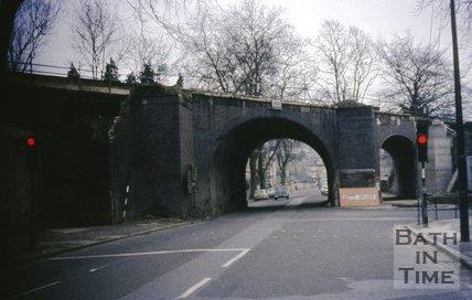 The demolition of the original railway bridge on Pulteney Road, October 1975