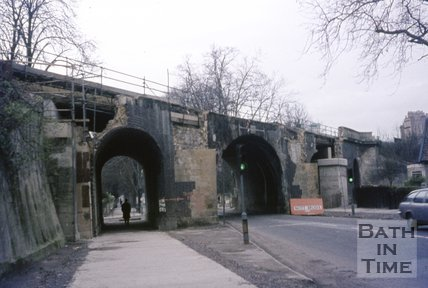 The demolition of the original railway bridge on Pulteney Road, October 1975