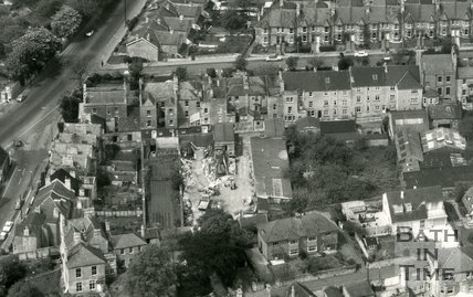 Detail from aerial view of Bear Flat showing the rear of Devonshire Buildings, August 1973