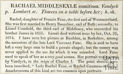 Description of Rachel Middlesexiae Comitissa