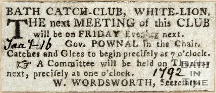 Meeting of Bath Catch Club, White Lion1792