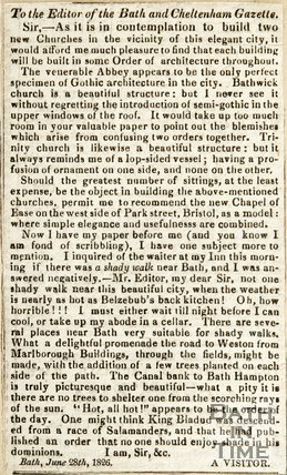 To the Editor of Bath and Cheltenham Gazette June 28th 1826