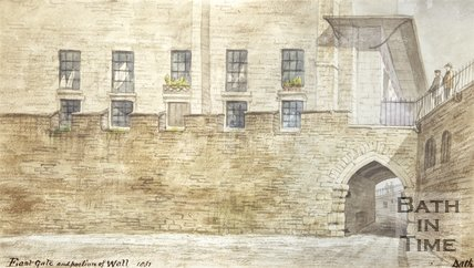 Watercolour of East Gate and Portions of Wall 1857